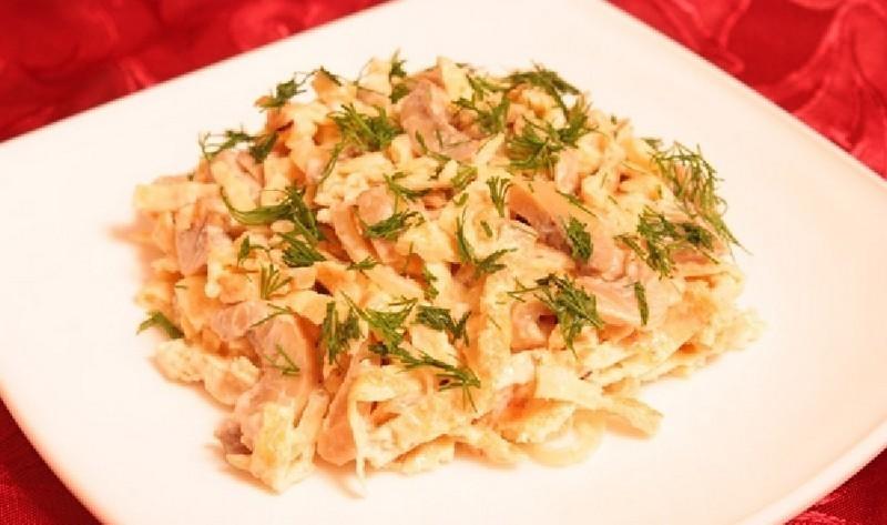 Салат огурец яичный блинчик ветчина рецепт